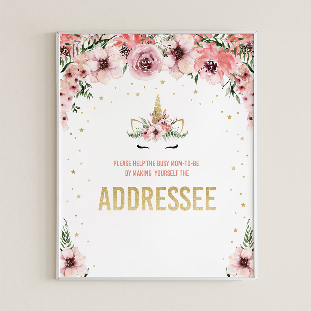 Adress an envelope sign for girl baby shower download by LittleSizzle