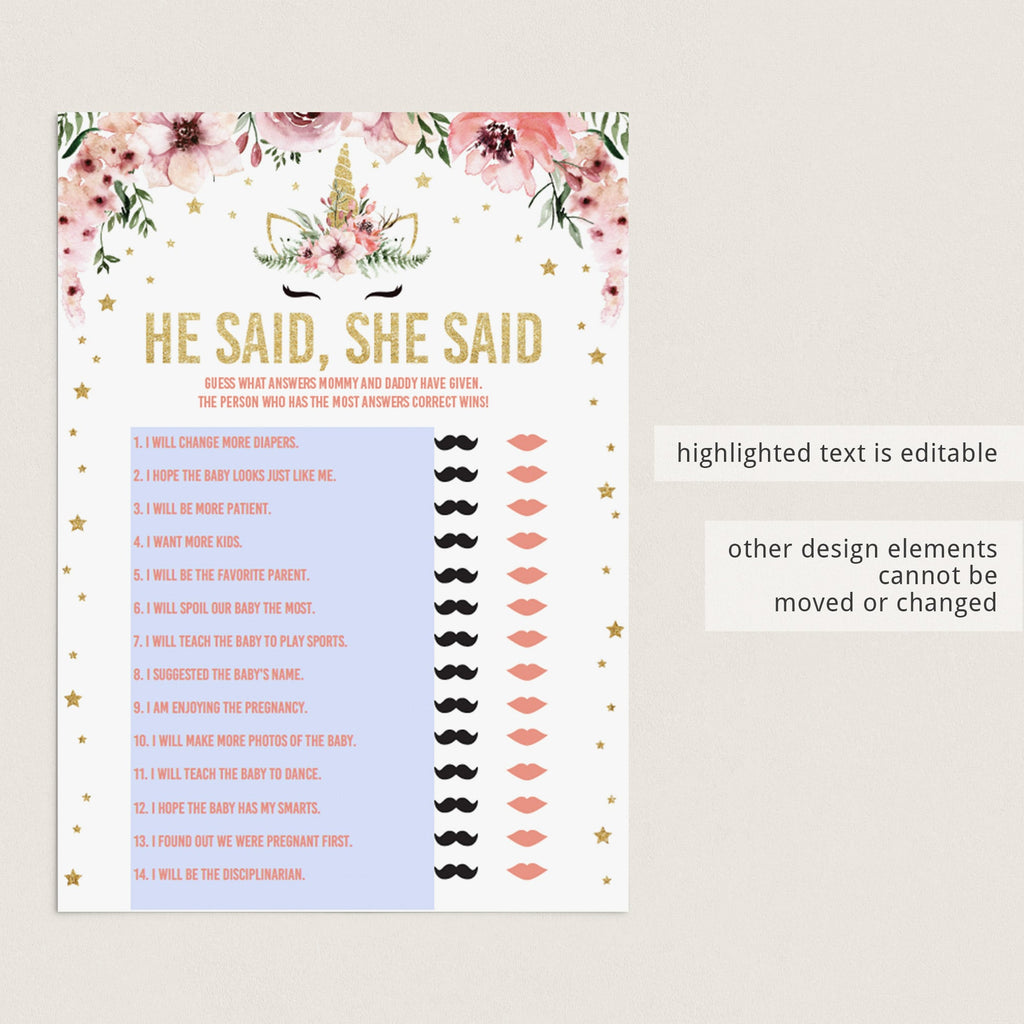 Girl Baby Shower Games Pack Unicorn Themed Printable Files