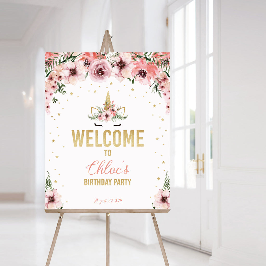 Unicorn party welcome sign template editable by LittleSizzle
