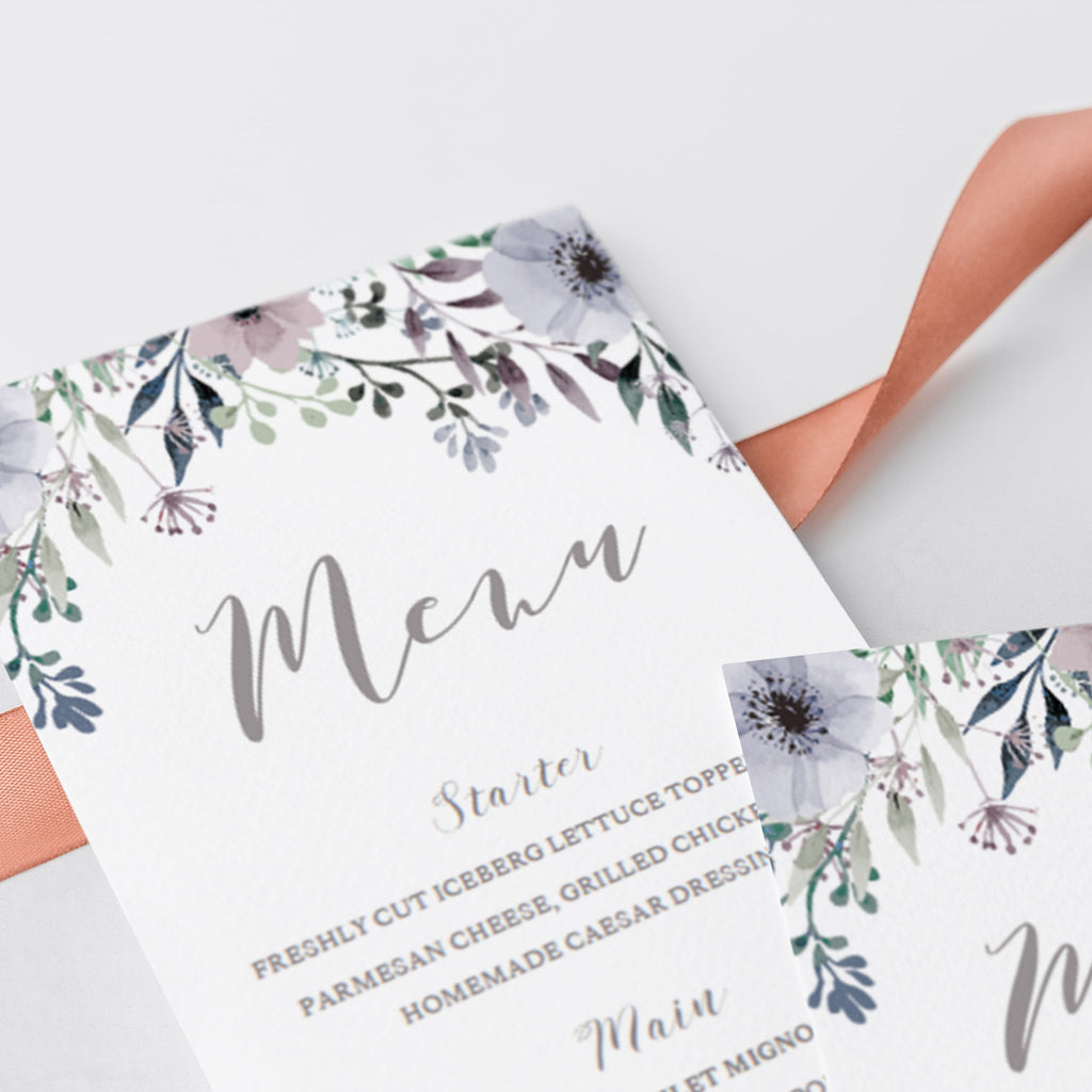 DIY menu card template downloadable PDF by LittleSizzle