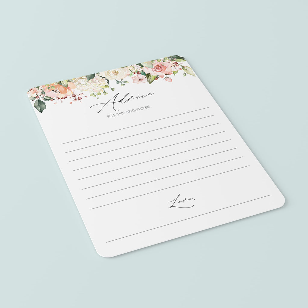 floral wedding shower advice and well wishes card downloads