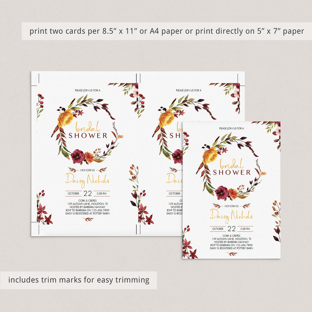 Bridal shower invitations with floral wreath autumn theme by LittleSizzle