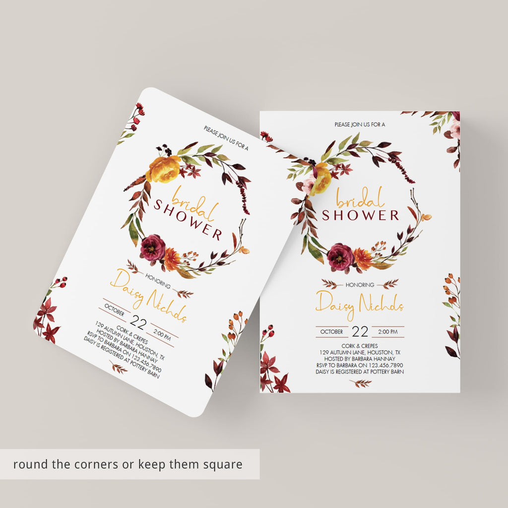 Burgundy bridal shower invitation digital template by LittleSizzle