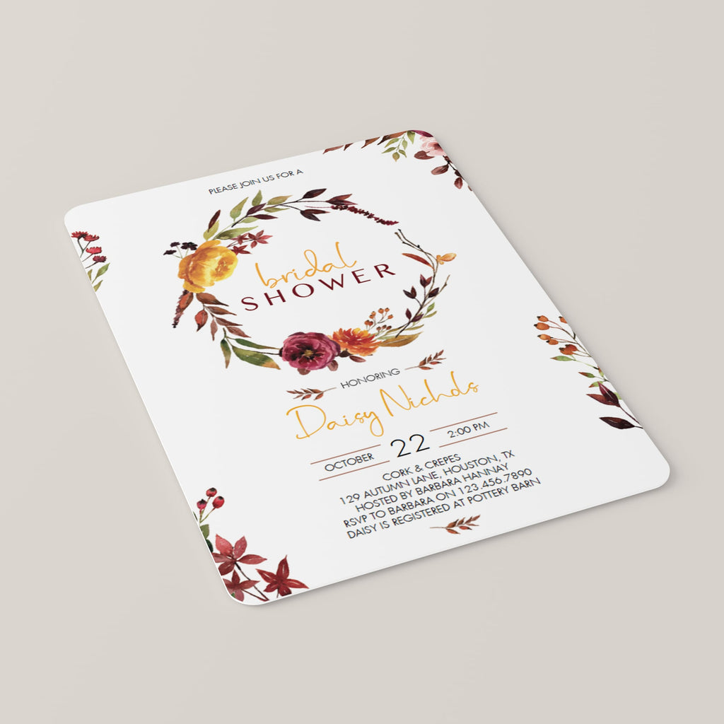 Burgundy Flowers Bridal Shower Invitation Template Download