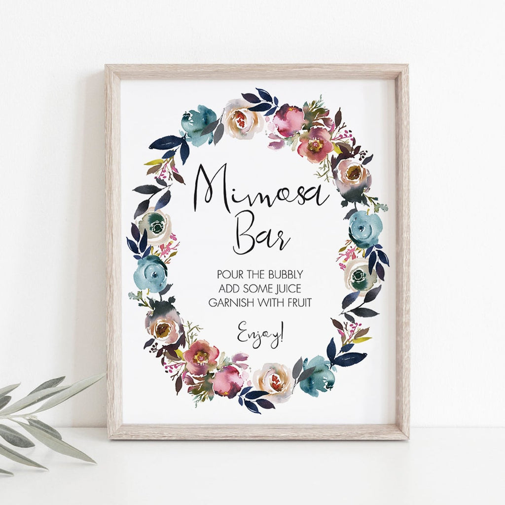 Flower shower mimosa bar sign instant download PDF by LittleSizzle