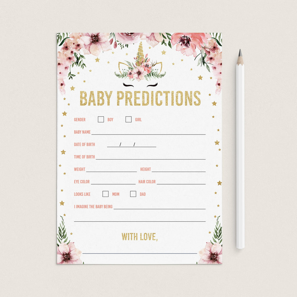Printable floral unicorn baby predictions game by LittleSizzle