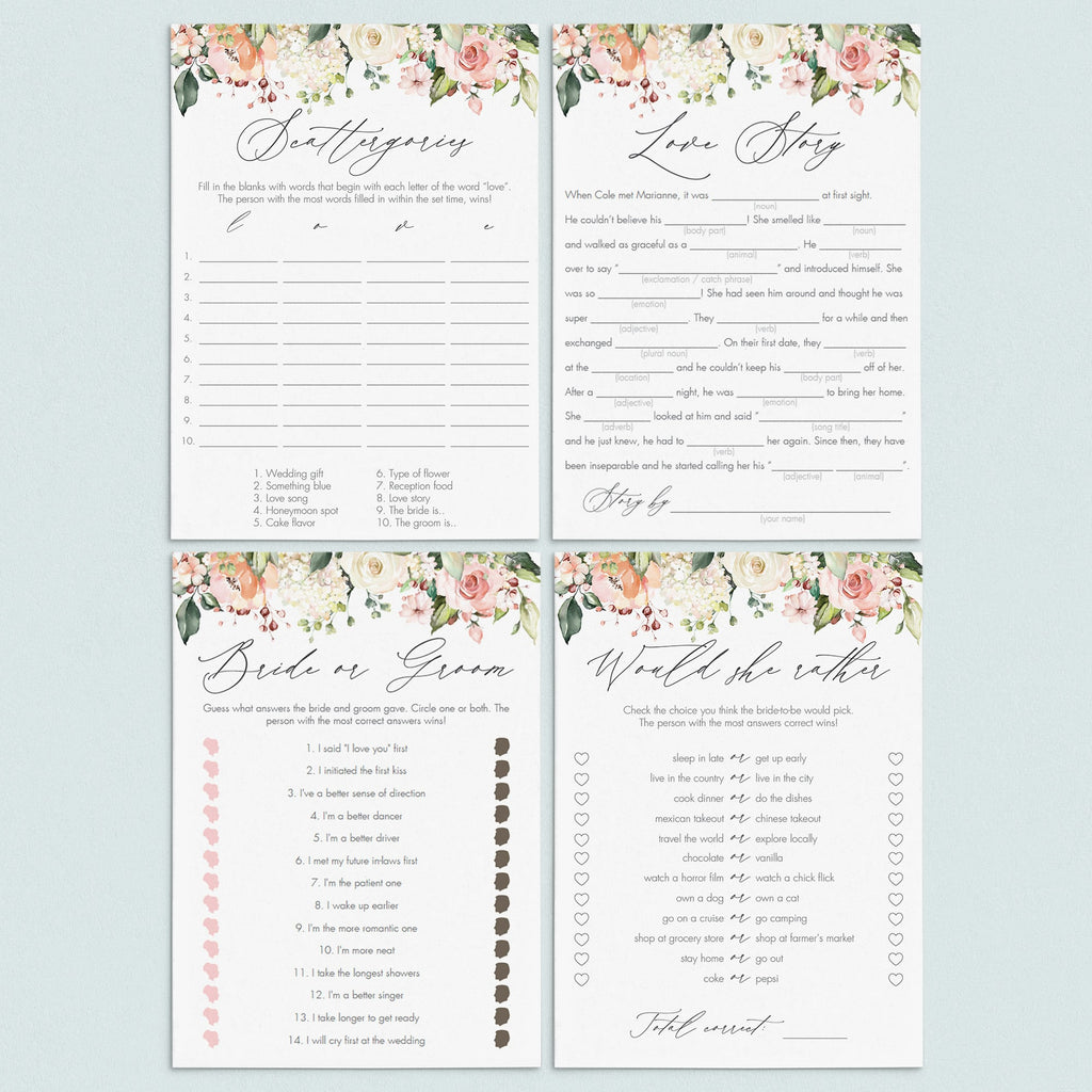 Watercolor floral bridal shower games package by LittleSizzle