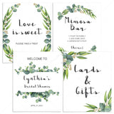 Printable Watercolor Eucalyptus Signs Bundle for Bridal Showers