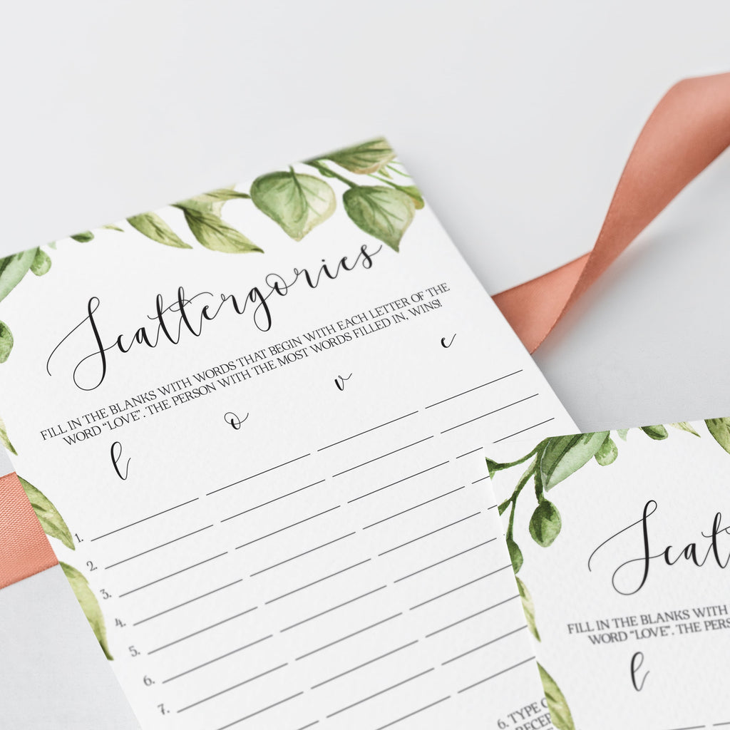 watercolor leaf bridal scattergories game cards