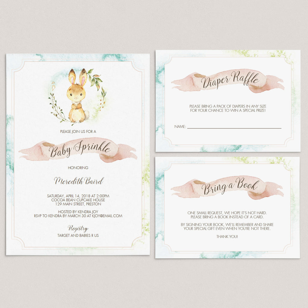 Bunny baby sprinkle invitation bundle by LittleSizzle
