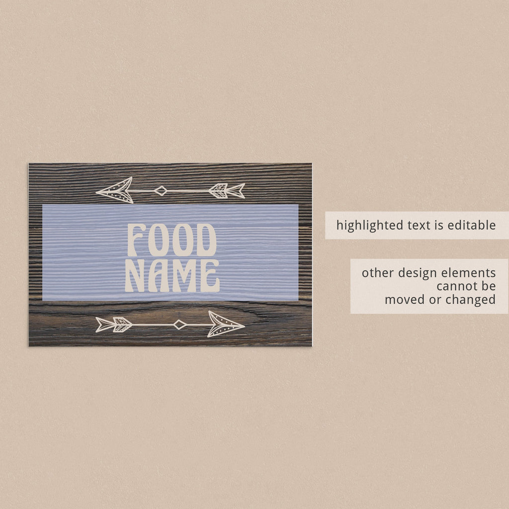 Editable food labels for rustic party by LittleSizzle