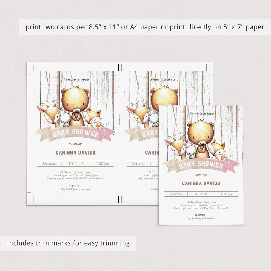 Instant downloadable girl shower invitations woodland theme by LittleSizzle