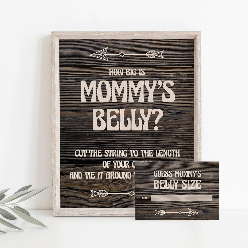 Guess mommy's belly size printable sign and cards rustic theme by LittleSizzle