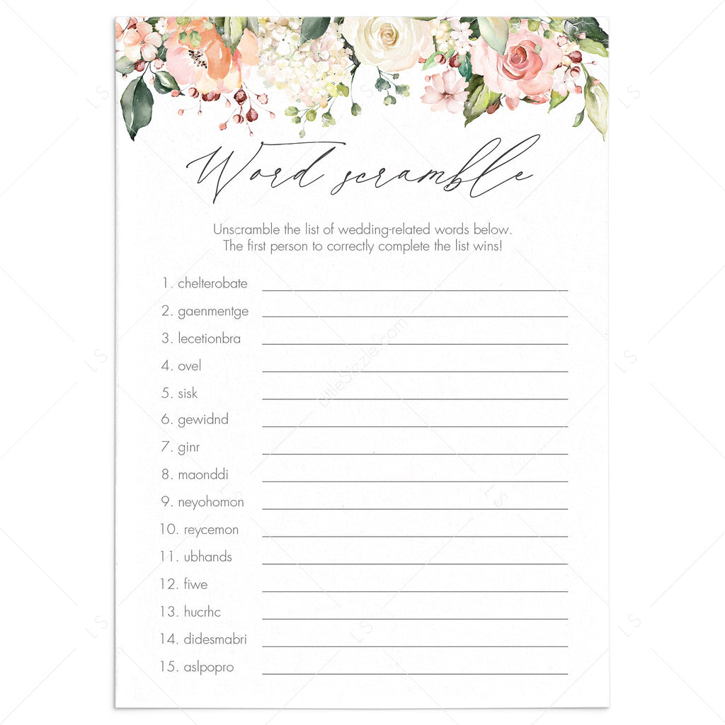 fun floral bridal shower games printable by LittleSizzle