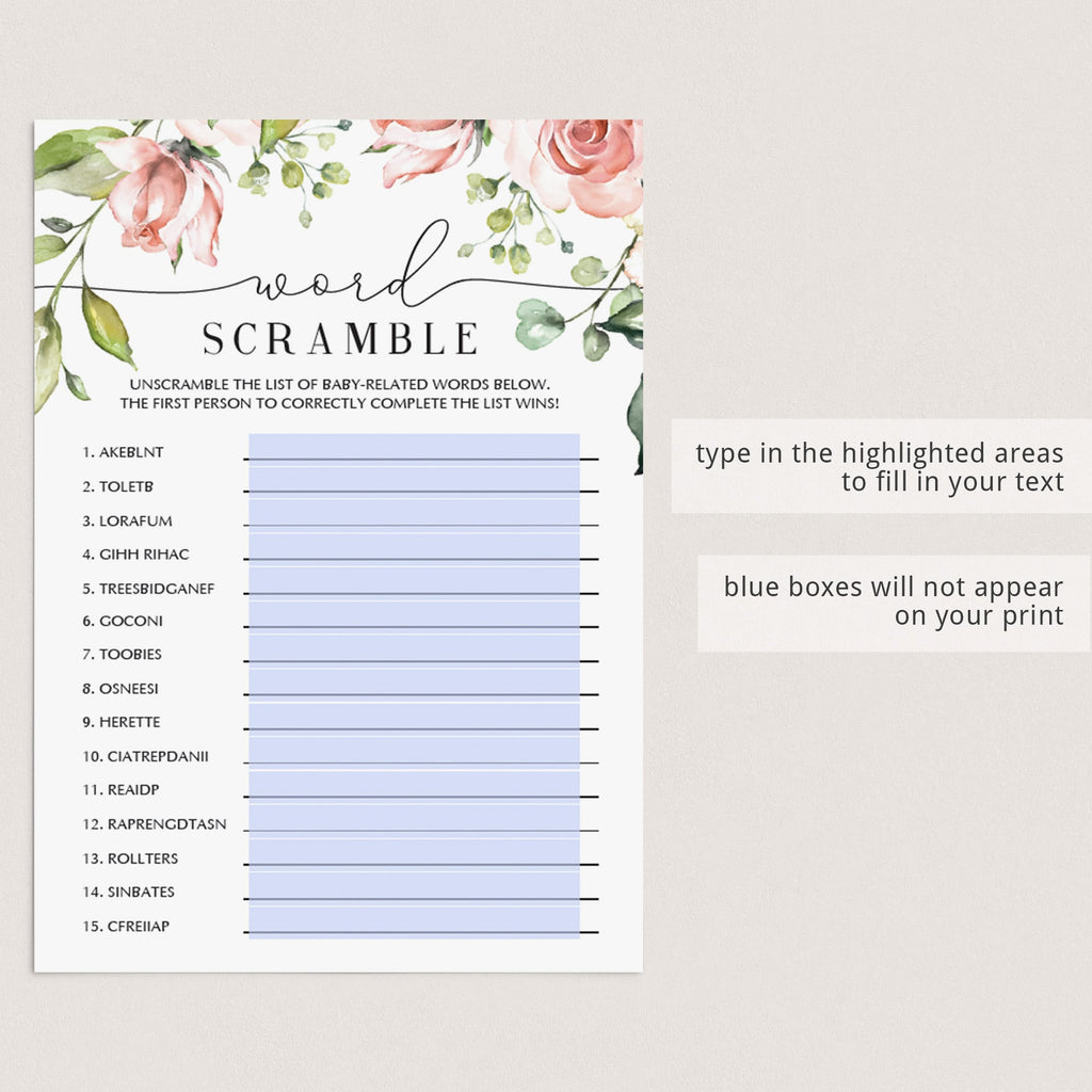Long distance word scramble game for girl baby shower by LittleSizzle