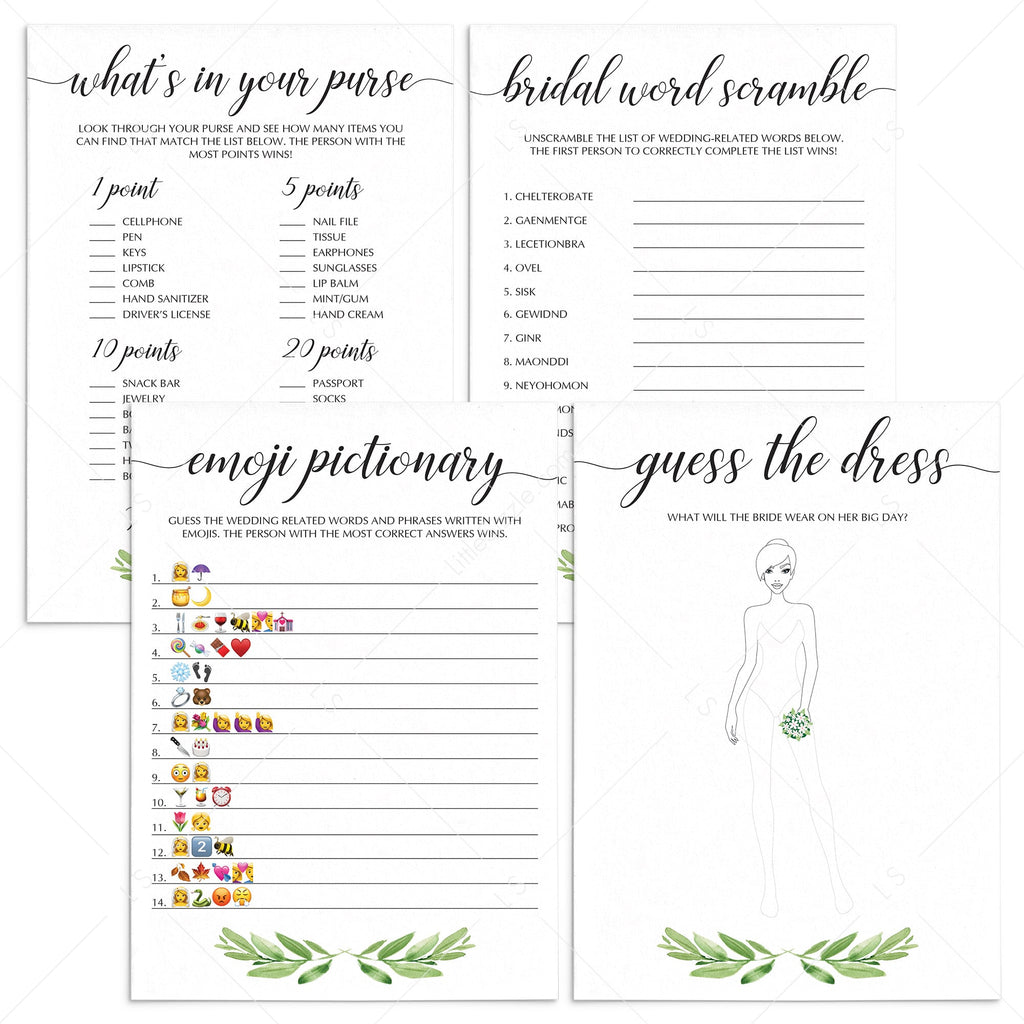 greenery bridalshower games package instant downloads by LittleSizzle
