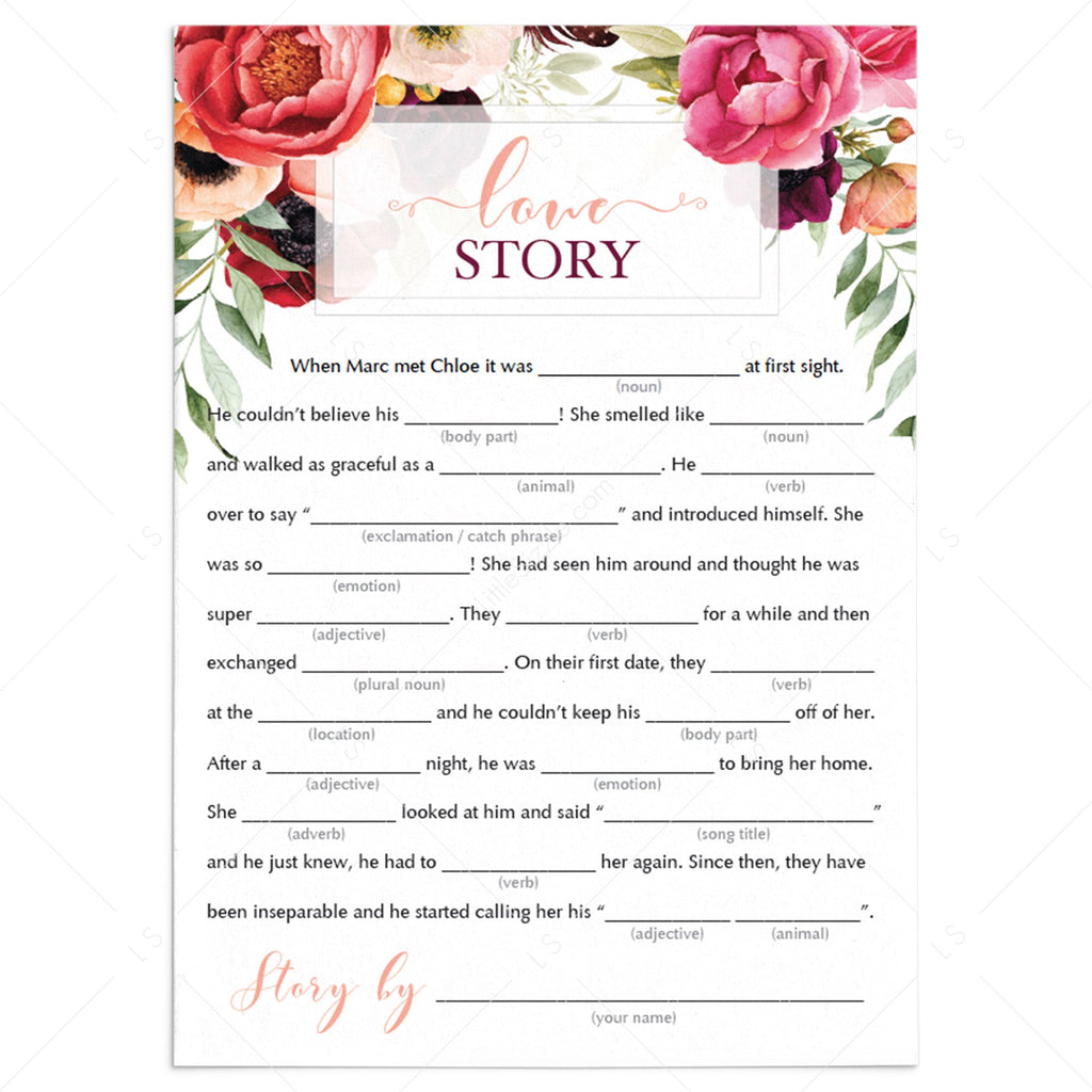 funny mad libs bridal shower games printable by LittleSizzle