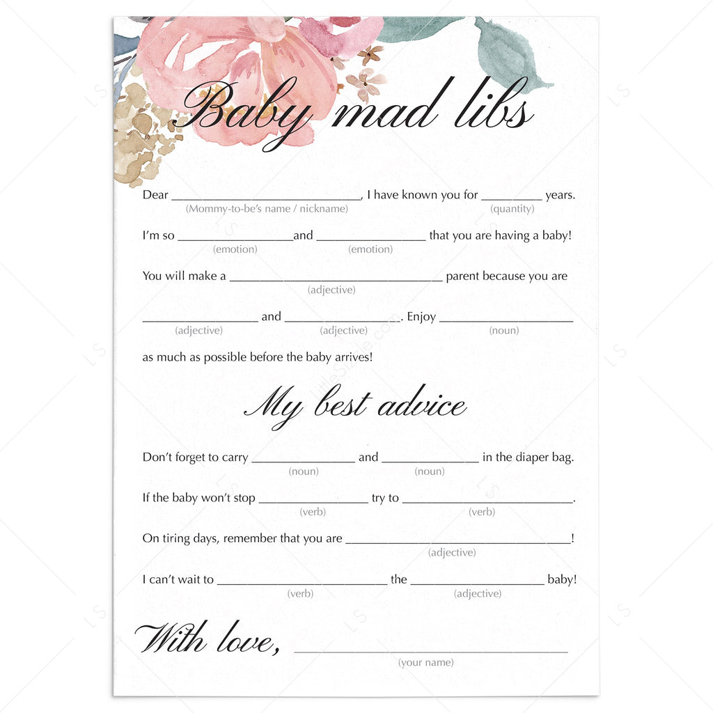Baby Shower Mad Libs Printable Blush Floral by LittleSizzle