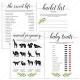 Baby Shower Games Package Printable Greenery Themed