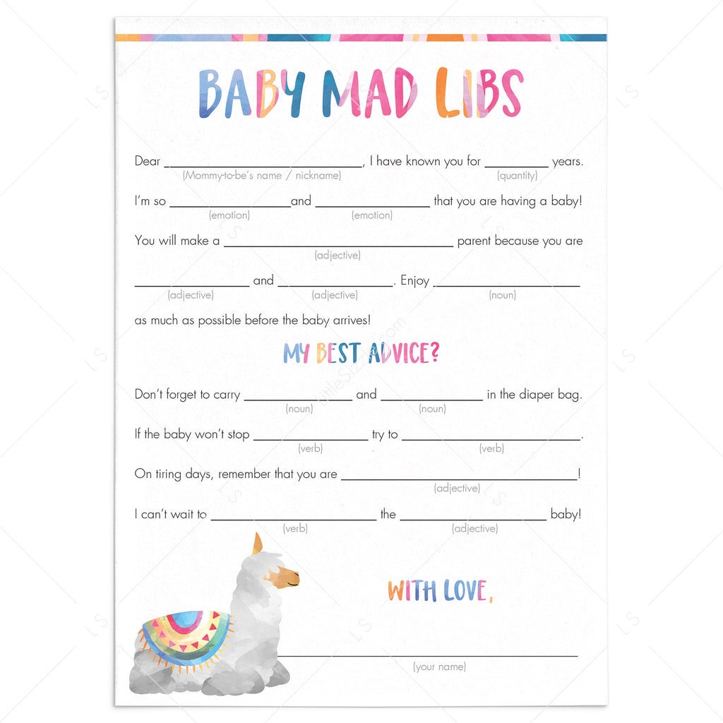 Funny Baby Shower Game Mad Libs Printable by LittleSizzle