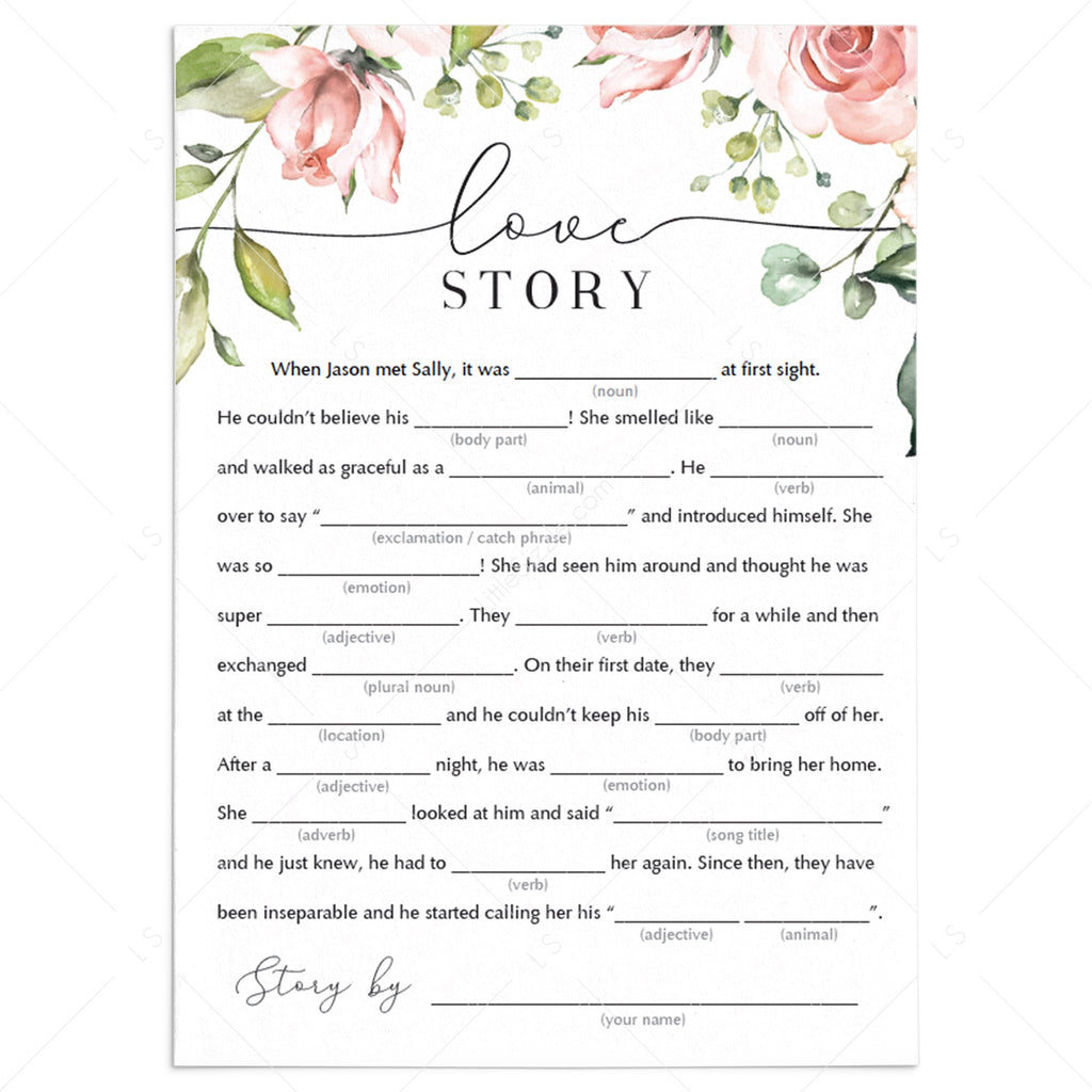 Funny Bridal Shower Mad Libs Love Story Printables Littlesizzle