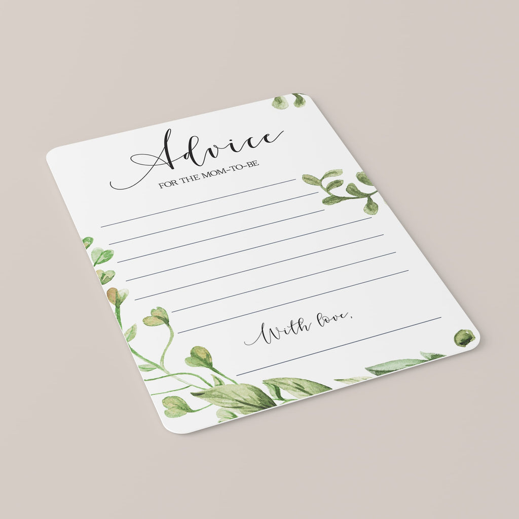 Advice for Mommy-To-Be Greenery Baby Shower Printable