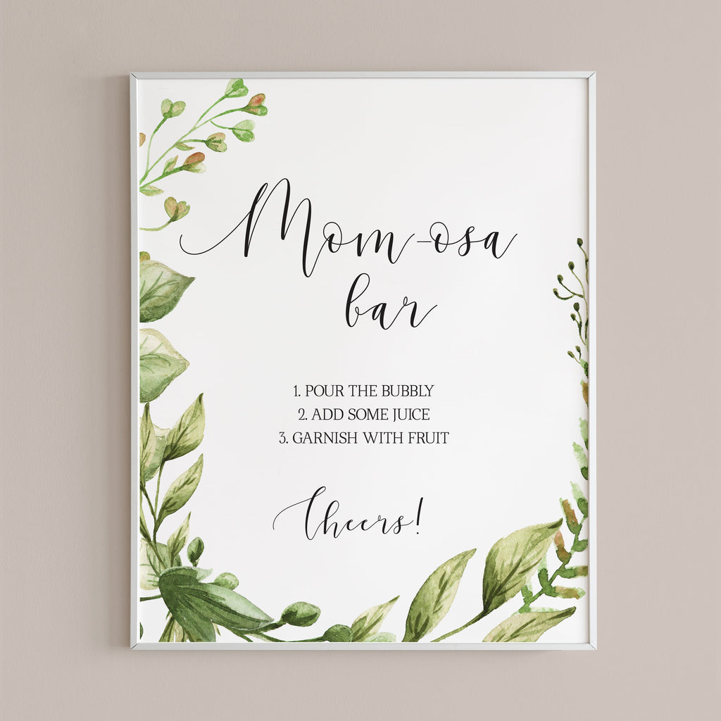 Momosa bar table sign greenery baby shower decor instant download by LittleSizzle