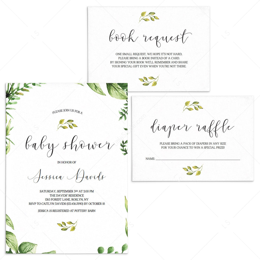 Classic baby shower invitation set templates greenery themed by LittleSizzle