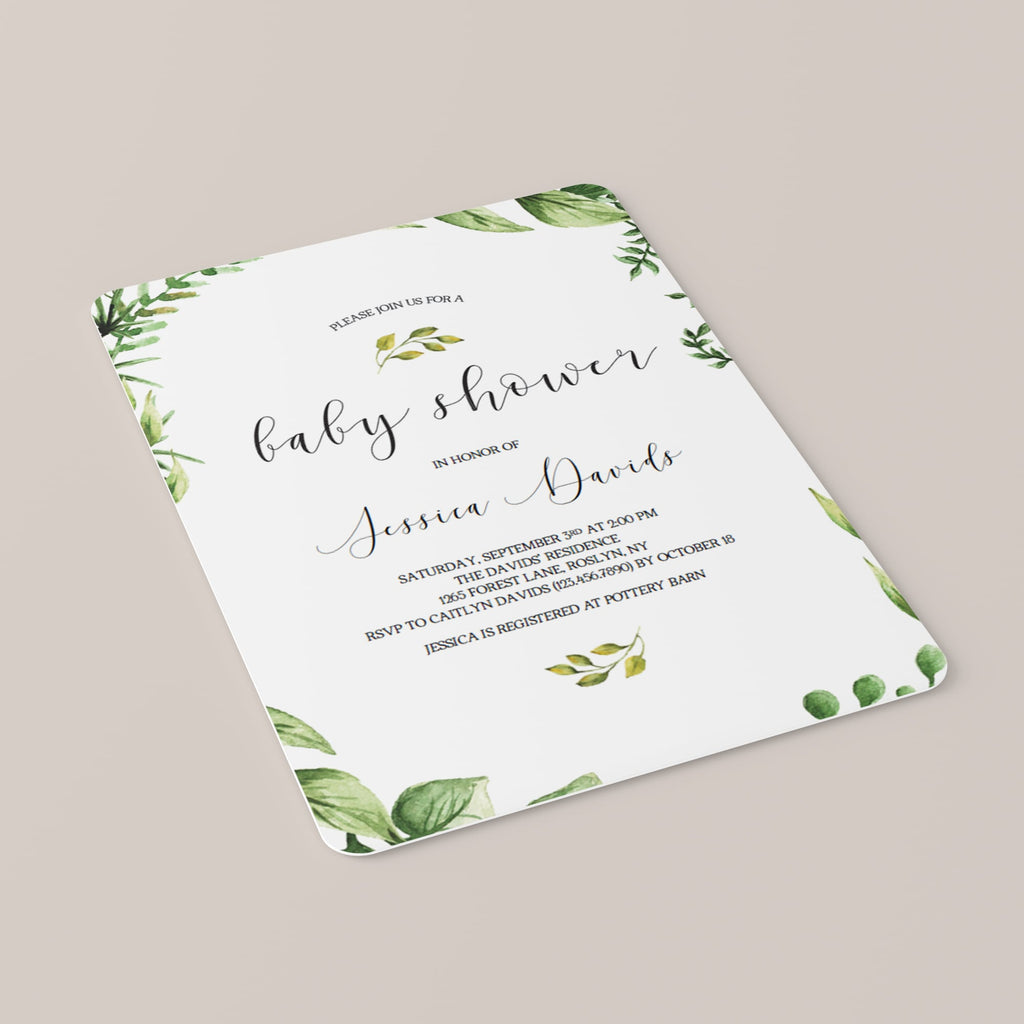 Classic Baby Shower Invitation Set Greenery Themed