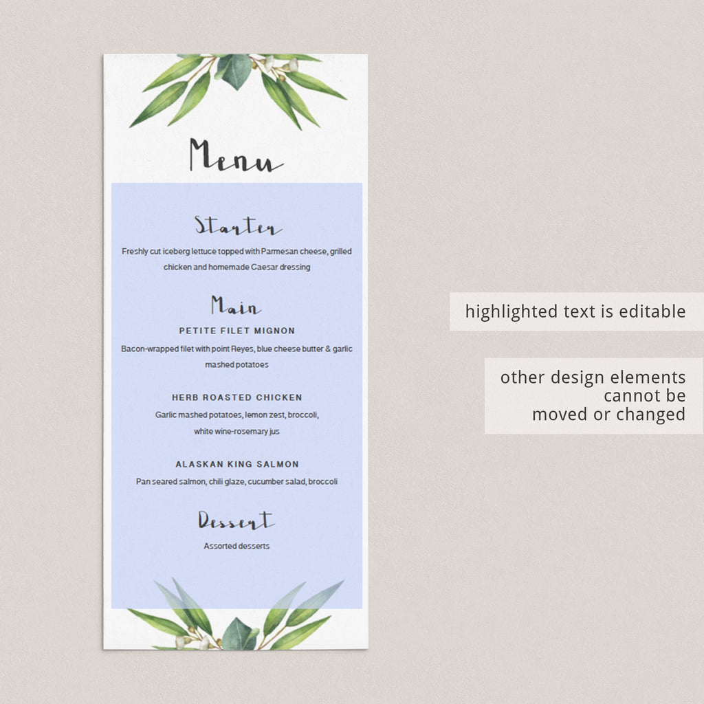 Menu Card Template for Greenery Event