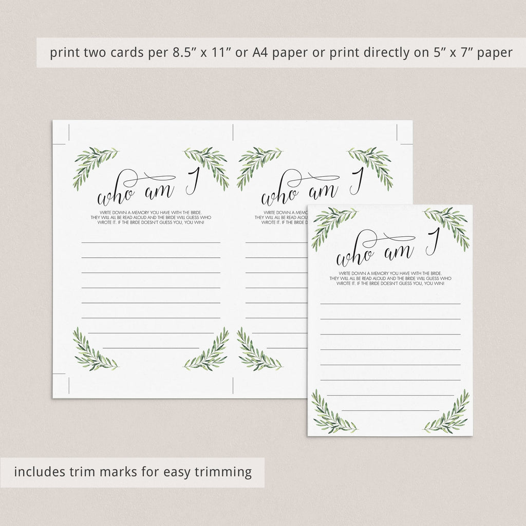Botanical Wedding Shower Game Who Am I Instant Download