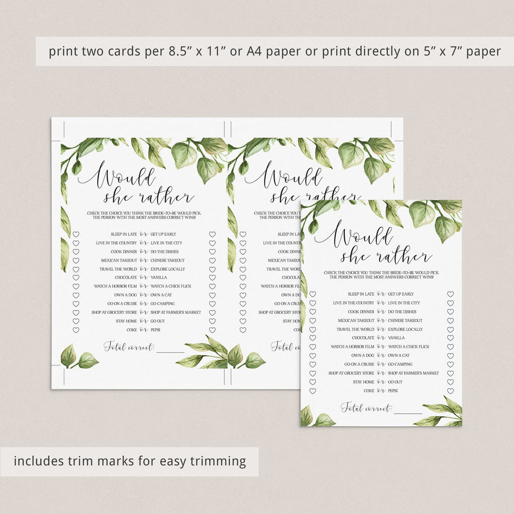 forest bridal shower game would she rather printables