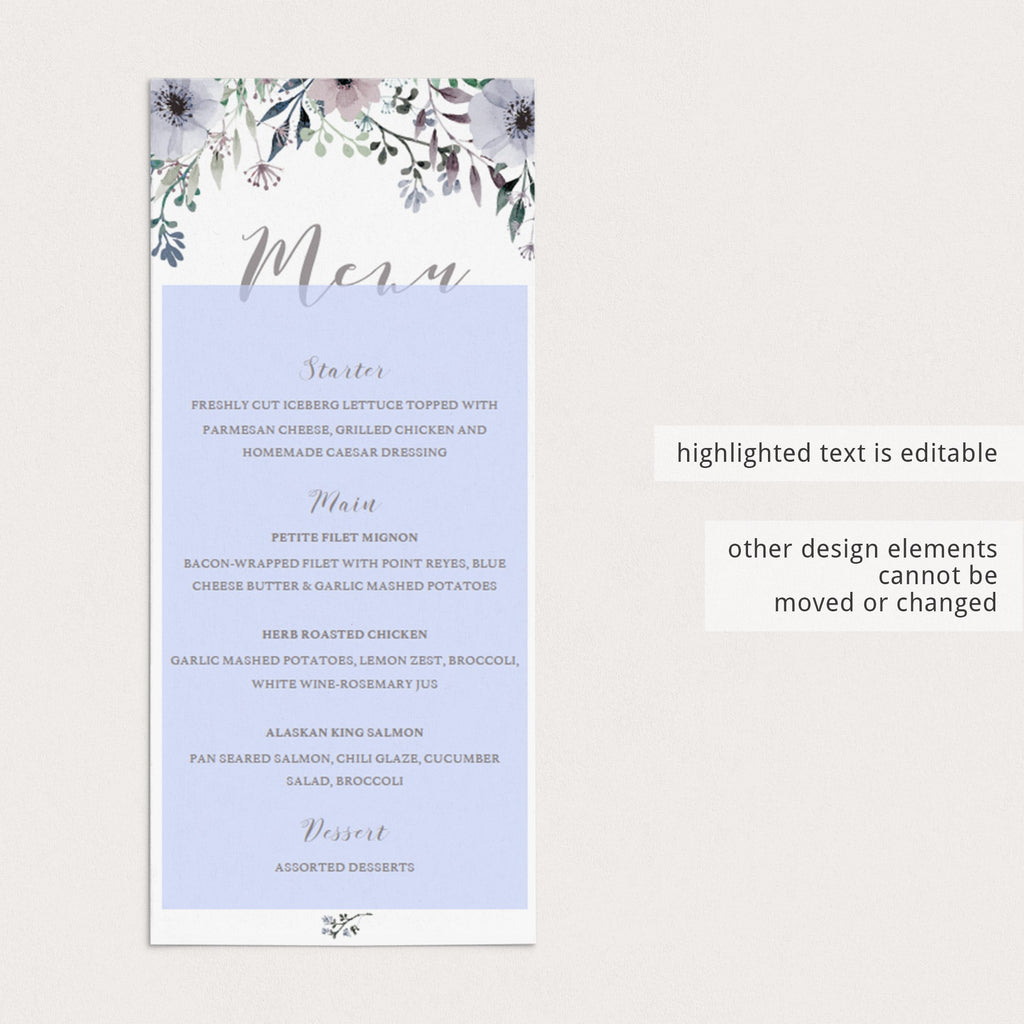 Purple menu table cards by LittleSizzle