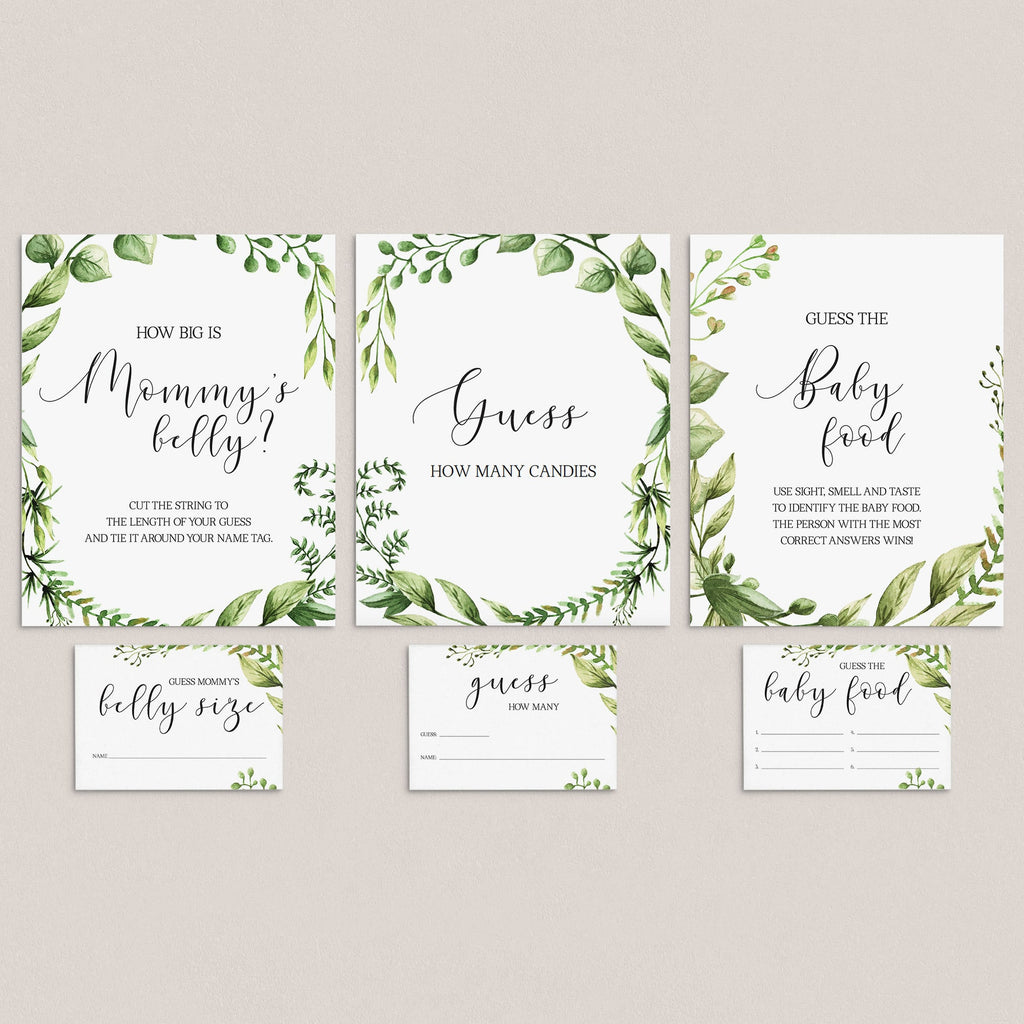 Greenery baby shower guessing games package printable by LittleSizzle