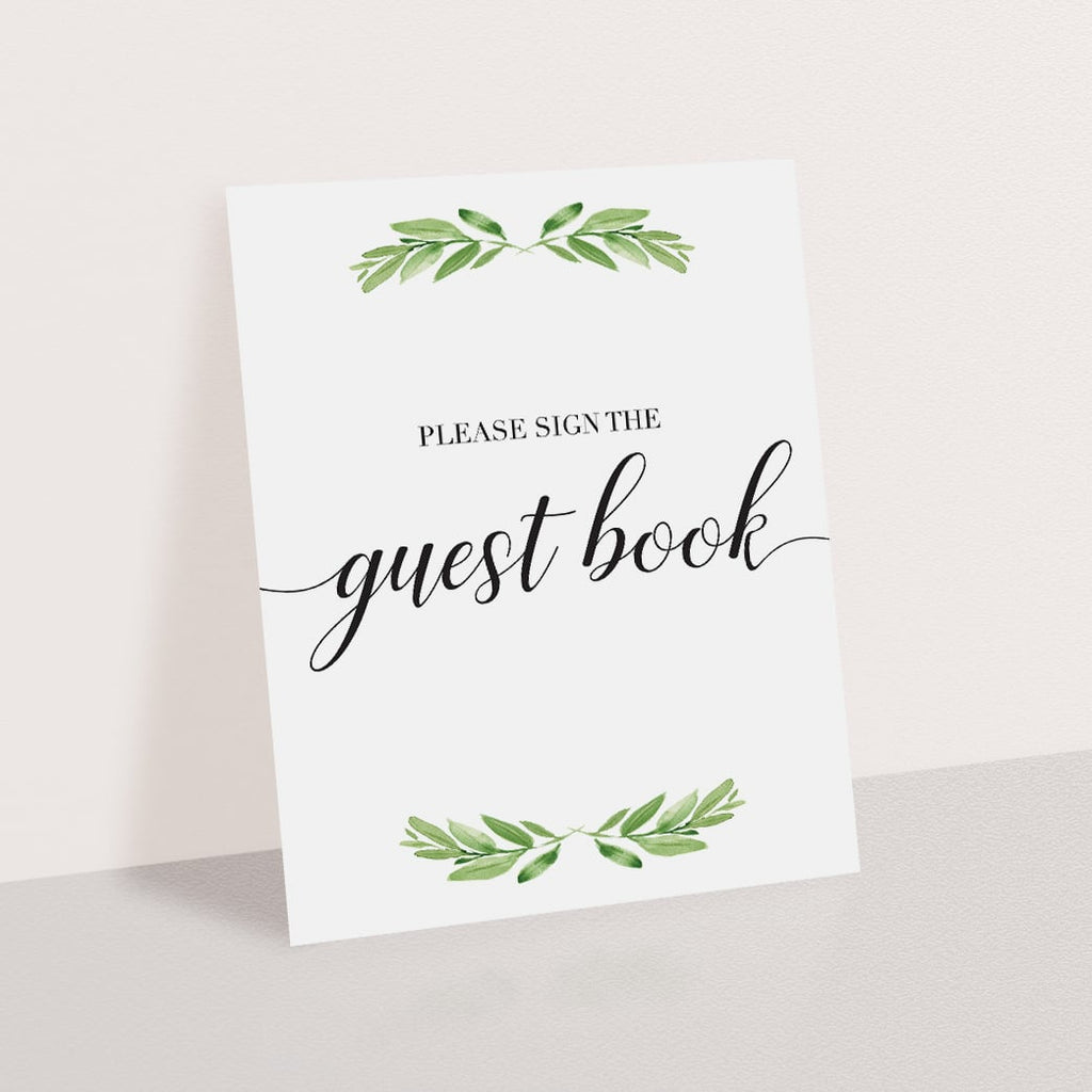 Instant download green baby shower decor guest book signage by LittleSizzle
