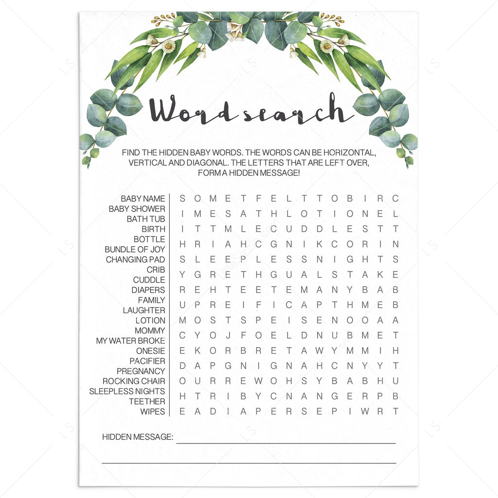 Eucalyptus baby shower games printable word search by LittleSizzle
