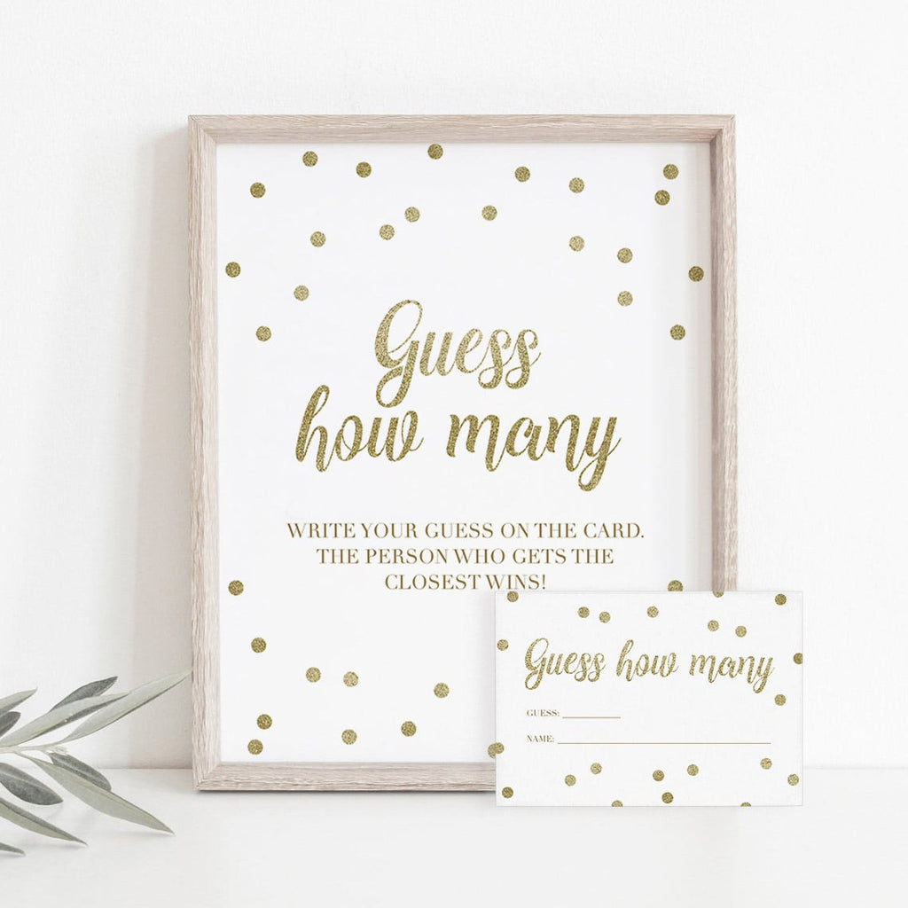 Gold confetti baby shower game guess how many by LittleSizzle