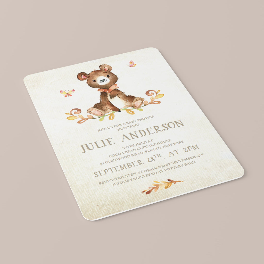 Personalized baby party invite with watercolor teddy bear by LittleSizzle