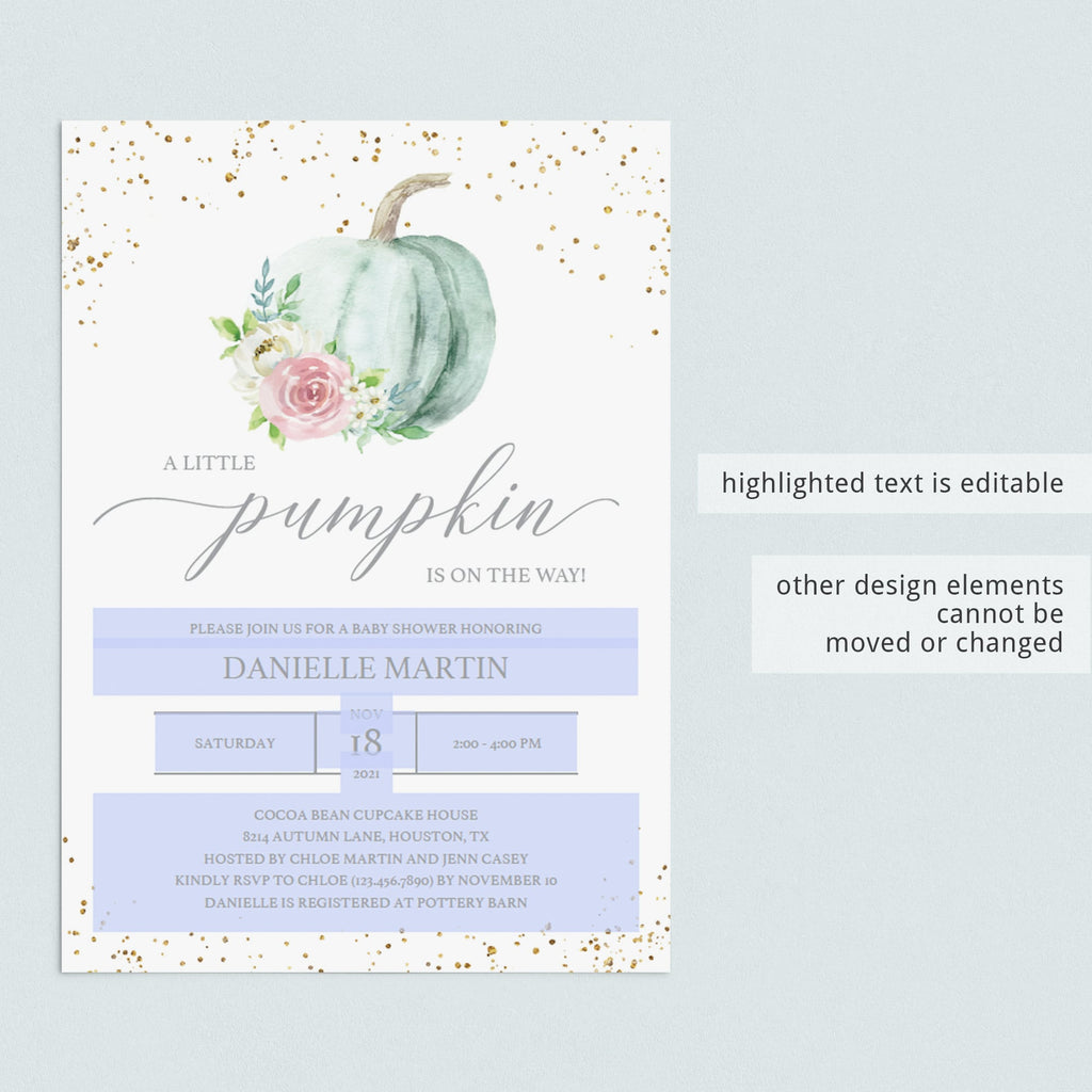 DIY pumpkin baby shower invite editable pdf template by LittleSizzle
