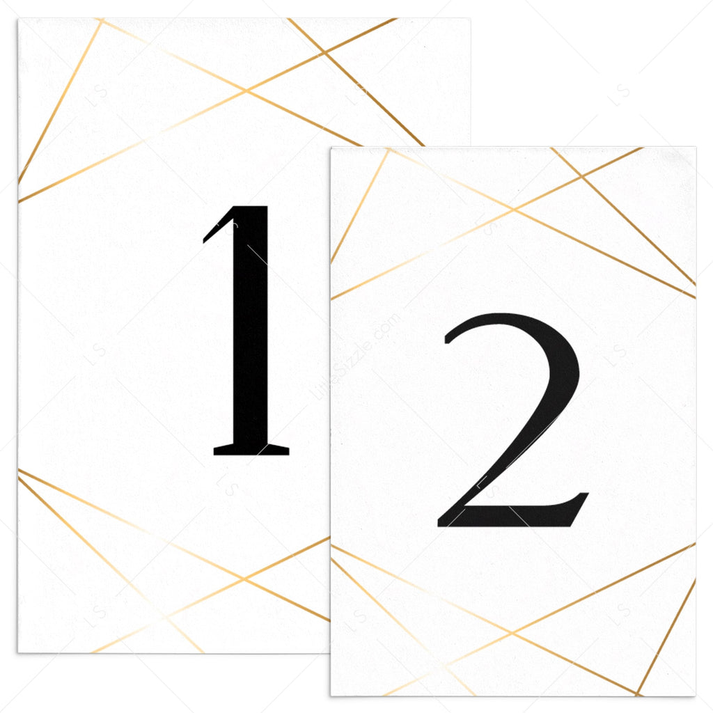 Gold table numbers template download by LittleSizzle