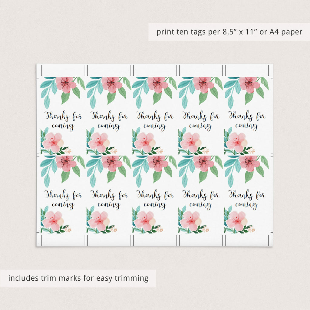Printable baby shower favor tags for floral baby shower by LittleSizzle