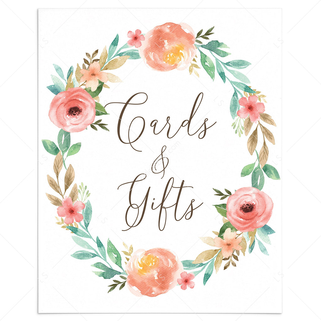 Printable Gift Table Sign with Watercolor Flowers by LittleSizzle