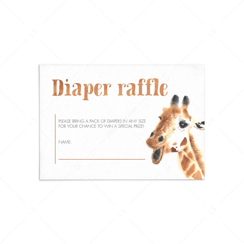 Giraffe Baby Shower Diaper Raffle Card Template by LittleSizzle