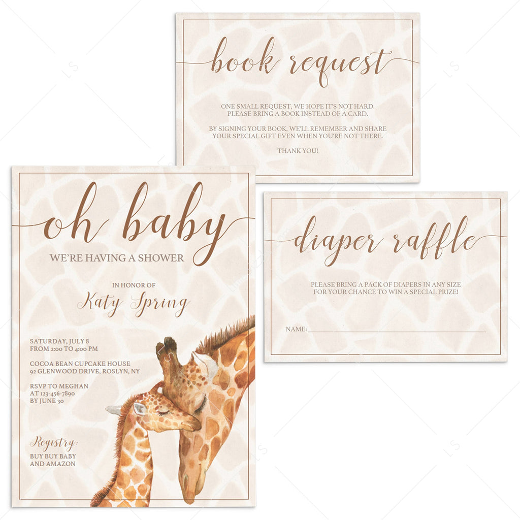Giraffe baby shower invitation templates download by LittleSizzle
