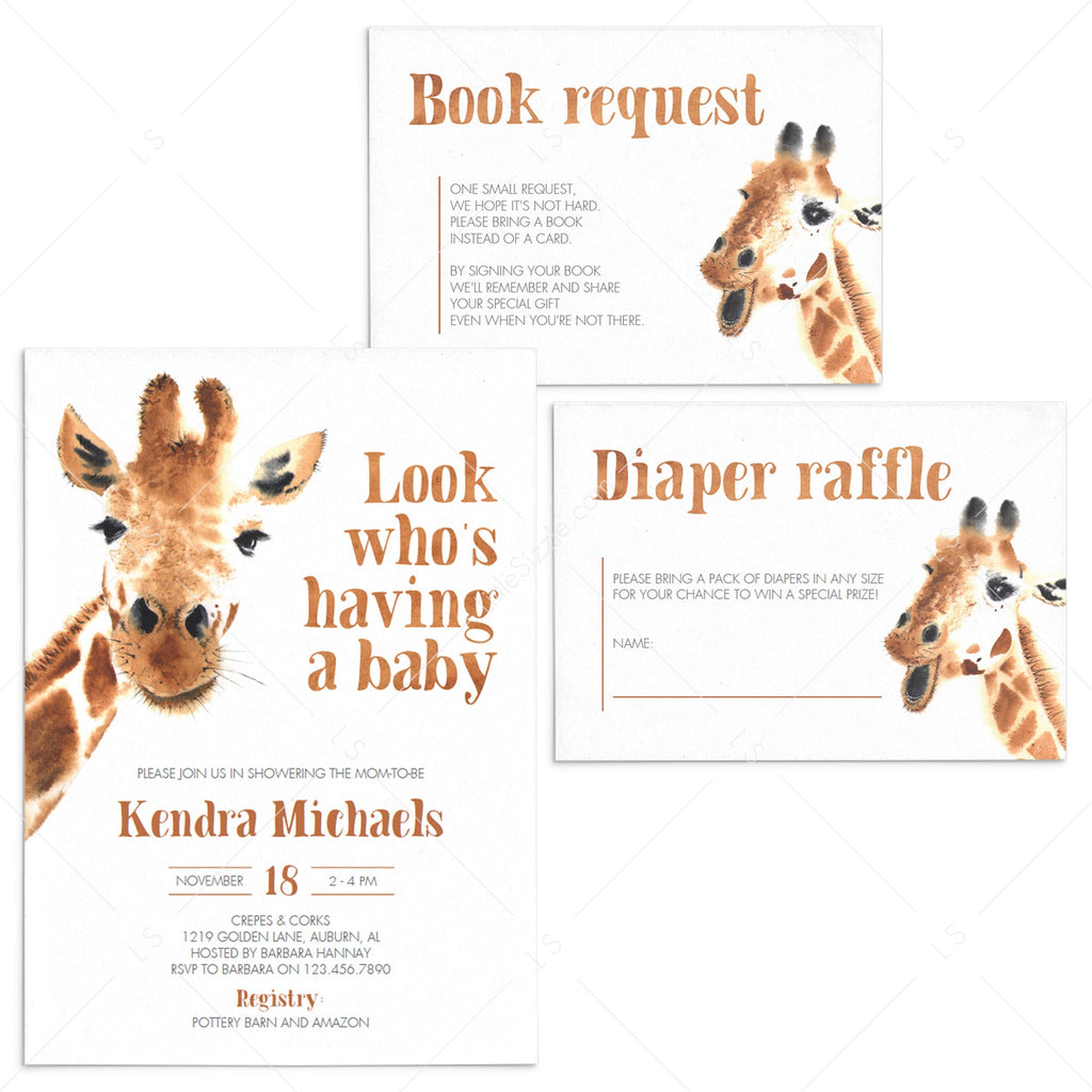 Funny Baby Shower Invitation Suite Giraffe Theme by LittleSizzle