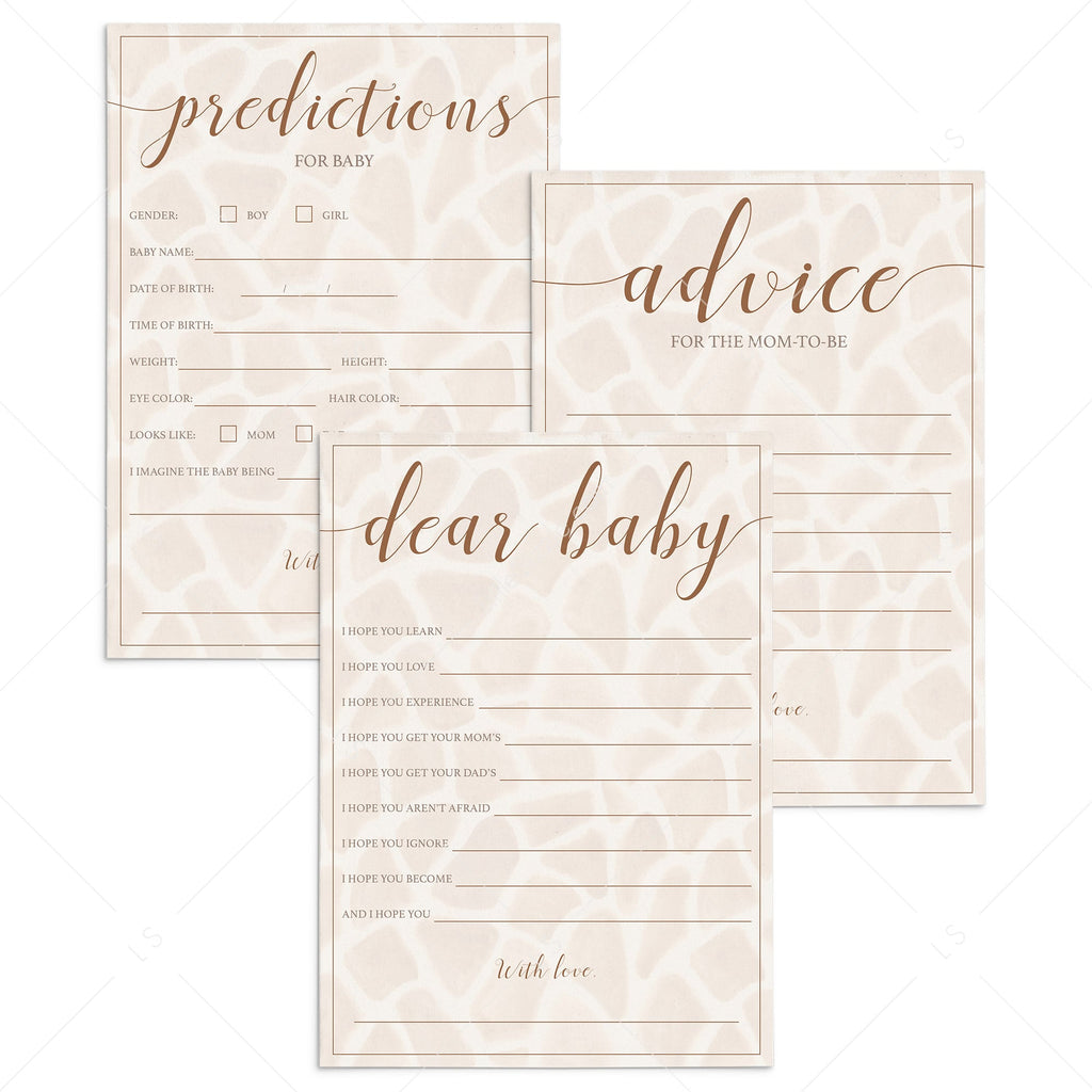 Giraffe baby shower games package printable by LittleSizzle