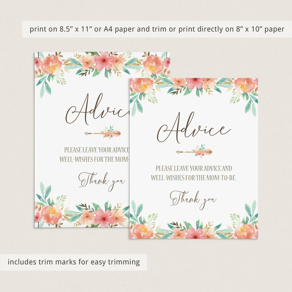 Floral Themed Advice Sign for Baby Shower Template
