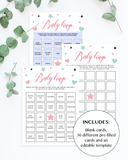 Blank and prefilled baby bingo cards printable by LittleSizzle