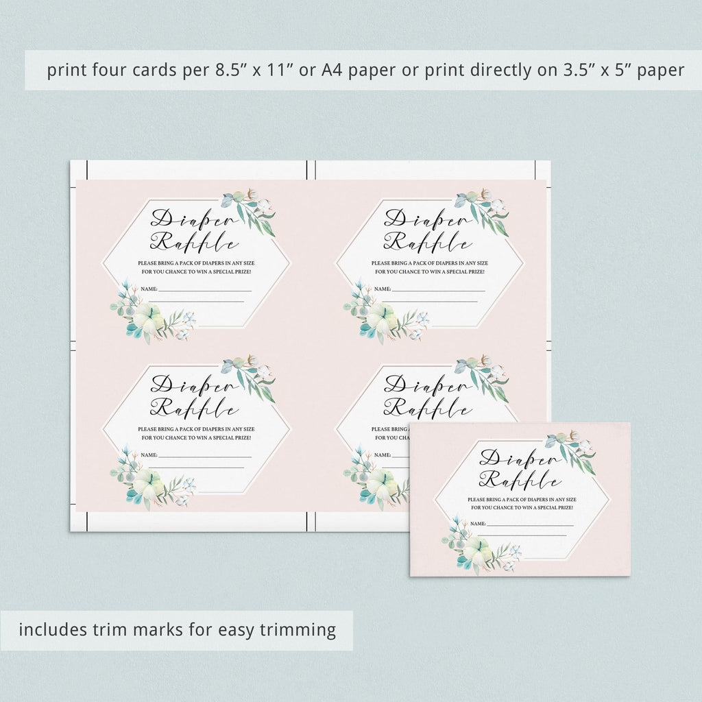 Printable diaper raffle ticket with blush pink flowers by LittleSizzle
