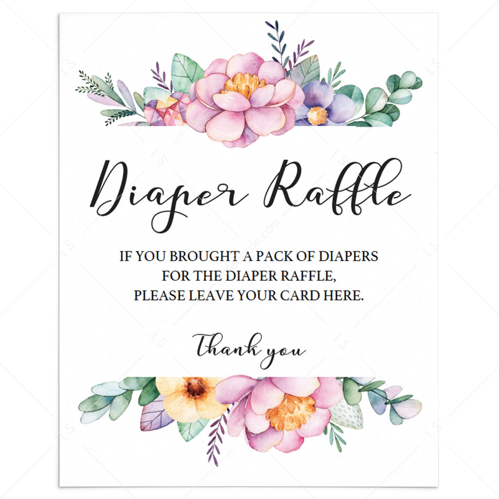 Floral sign for baby shower diaper raffle tickets by LittleSizzle